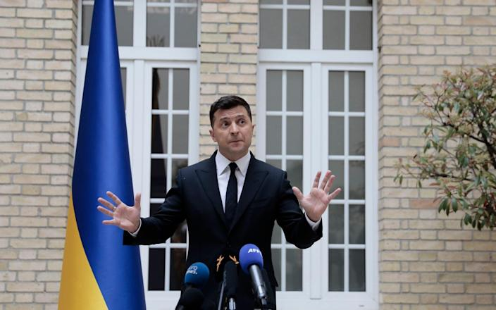 Zelenskiy gave a press conference at the Ukrainian embassy in Paris before his meeting with Macron and Merkel - AP