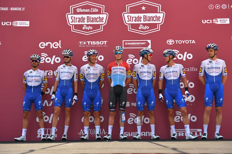SIENA ITALY AUGUST 01 Start Podium Julian Alaphilippe of France Kasper Asgreen of Denmark Davide Ballerini of Italy Mikkel Frlich Honor of Denmark Bob Jungels of Luxembourg Pieter Serry of Belgium Zdenek Stybar of Czech Republic and Team Deceuninck QuickStep during the Eroica 14th Strade Bianche 2020 Men a 184km race from Siena to SienaPiazza del Campo StradeBianche on August 01 2020 in Siena Italy Photo by Tim de WaeleGetty Images