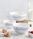 """To find genuine vintage mixing bowls, you either have to time travel to any point between the '50s and '80s—or hunt on eBay or Etsy, where some Pyrex and Corningware pieces are listed for hundreds of dollars. The next best thing is this vintage-inspired set, which you can order from present-day Macy's without getting into a bidding war. The blue cornflower design on the bright-white bowls make us nostalgic for days in the kitchen with grandma, but it's their versatility that seals the deal: They're BPA-free and dishwasher-, fridge-, freezer-, microwave-safe; made from non-porous stoneware they're stain-reseistant and won't absorb odors, and can also be used for heating up to 200 degrees. $59, Macy's. <a href=""""https://www.macys.com/shop/product/goodful-5-qt.-grater-prep-bowl-created-for-macys?ID=6545068&CategoryID=22672"""" rel=""""nofollow noopener"""" target=""""_blank"""" data-ylk=""""slk:Get it now!"""" class=""""link rapid-noclick-resp"""">Get it now!</a>"""