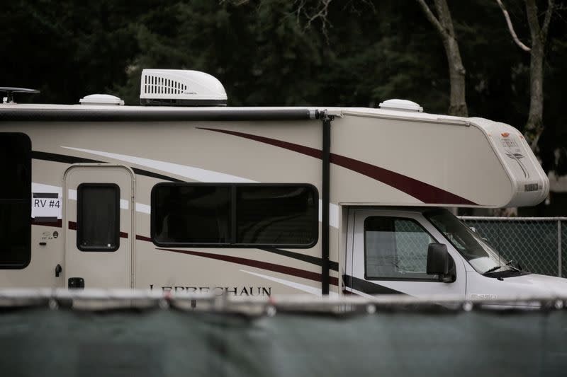 A recreational vehicle (RV) is seen parked in a earmarked quarantine site for healthy people potentially exposed to novel coronavirus, behind Washington State Public Health Laboratories in Shoreline, north of Seattle