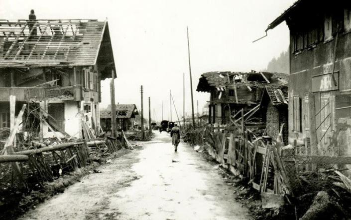 A general view of a street after the 1947 explosion in Mitholz