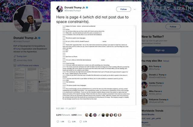 """This screenshot shows a tweet posted July 11, 2017, by Donald Trump Jr. on his Twitter account, in which he reveals an email chain with publicist Rob Goldstone in June 2016. In the email, he discusses plans to hear allegedly damaging information on Hillary Clinton that were described as """"part of Russia and its government's support for Mr. Trump."""" (Photo: Twitter via AP)"""
