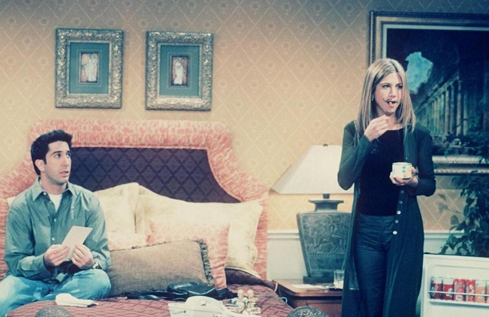 David Schwimmer and Jennifer Aniston star in 'Friends' Year 5 ('The One In Vegas, Part 2) 1999 Warner Bros. International Television Distribution. All Rights Reserved