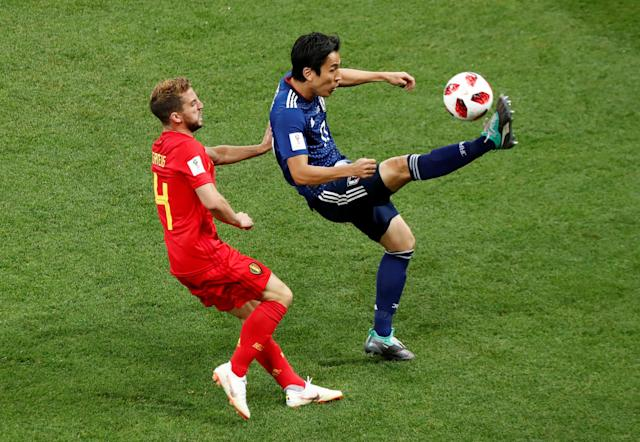 <p>Japan's Makoto Hasebe in action with Belgium's Dries Mertens REUTERS/Murad Sezer </p>