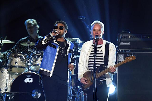 <p>Shaggy (left) and Sting perform onstage during the 60th Annual Grammy Awards at Madison Square Garden on January 28, 2018, in New York City. (Photo: Getty Images) </p>