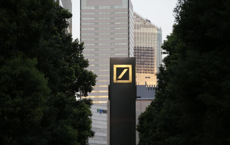 A logo of Deutsche Bank AG is seen in Tokyo