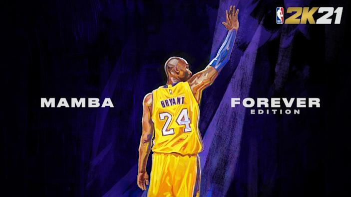 "One of two covers of ""NBA2K21 Mamba Edition"" featuring a portrait of Lakers legend Kobe Bryant <span class=""copyright"">(Twitter / @NBA2K)</span>"