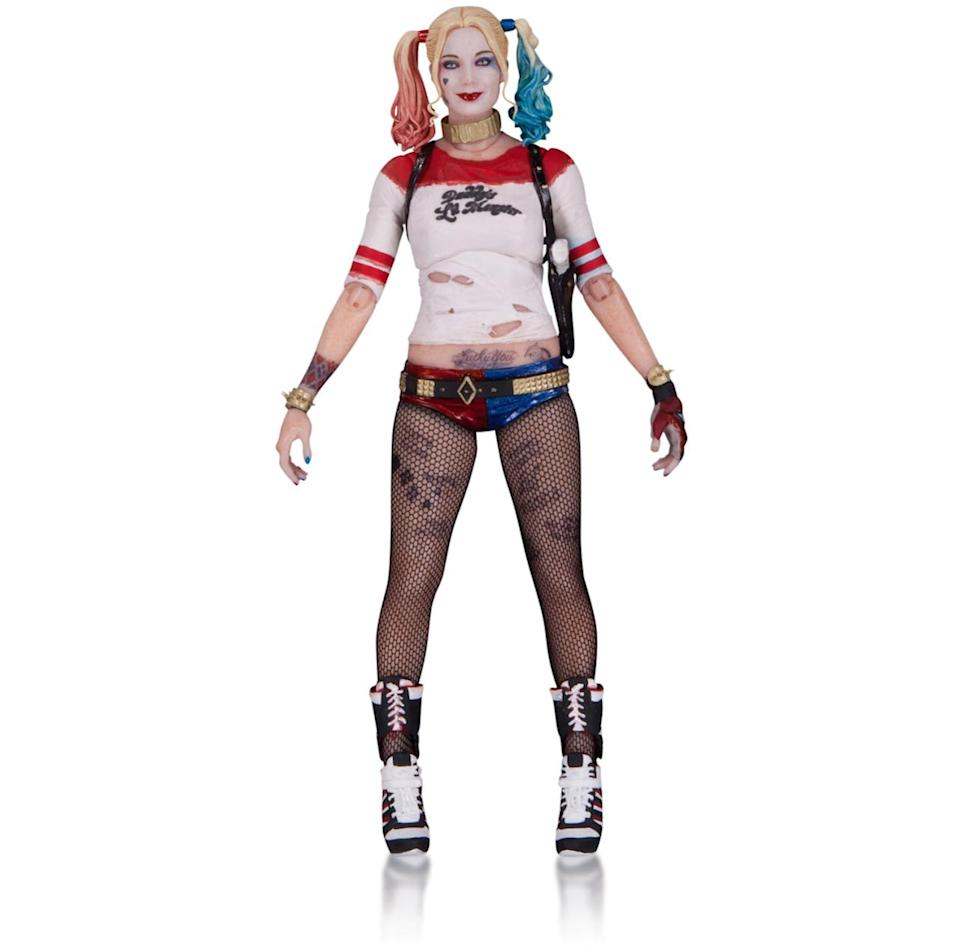 <p>The grand dame of the <i>Suicide Squad</i>, the unhinged Harley Quinn (Margot Robbie) comes all tatted up and extremely well-armed. In addition to her explosive collar (used to keep the villains in check during their missions), the figure includes a pistol and, of course, her hammer. <i>(Available in 2017; price TBA)</i></p>