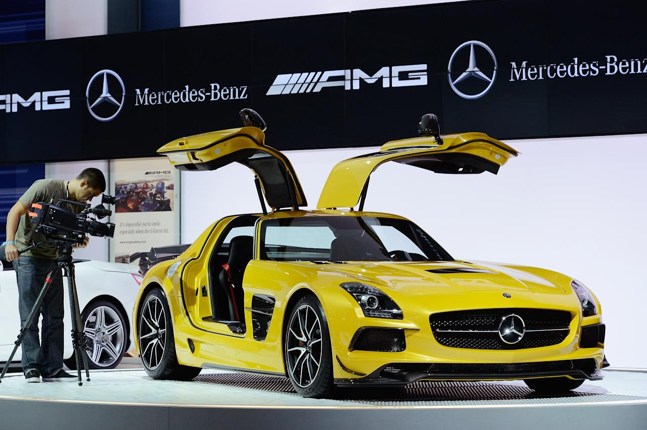 LOS ANGELES, CA - NOVEMBER 29:  The Mercedes-Benz SLS AMG GT is unveiled during the Los Angeles Auto show on November 29, 2012 in Los Angeles, California. The LA Auto Show opens to the public on November 30 and runs through December 9.  (Photo by Kevork Djansezian/Getty Images)