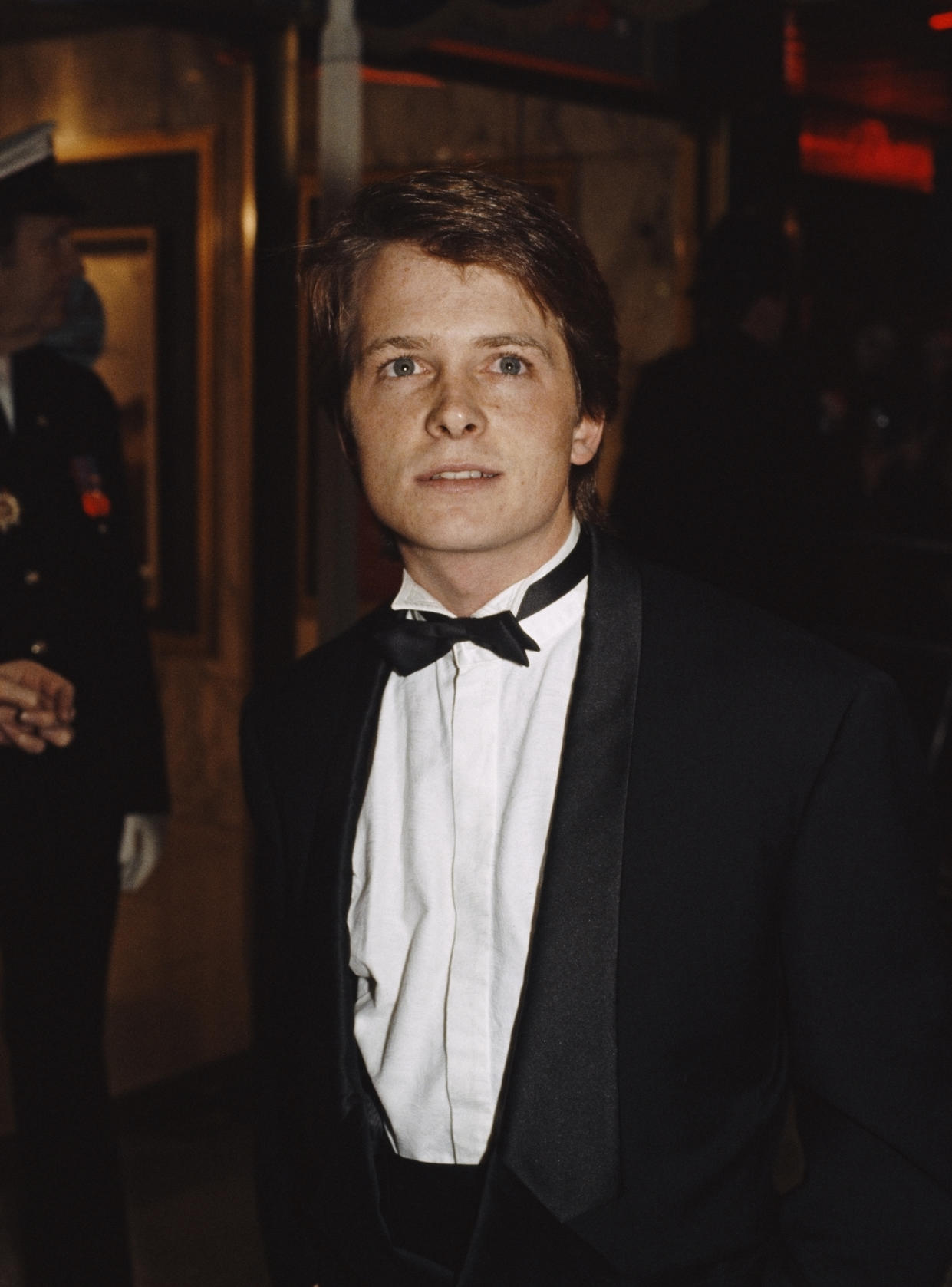 Canadian-American actor Michael J. Fox at the premiere of the film 'Back to the Future', in which he stars as time traveller Marty McFly, London, 3rd December 1985. (Photo by Fox Photos/Hulton Archive/Getty Images)