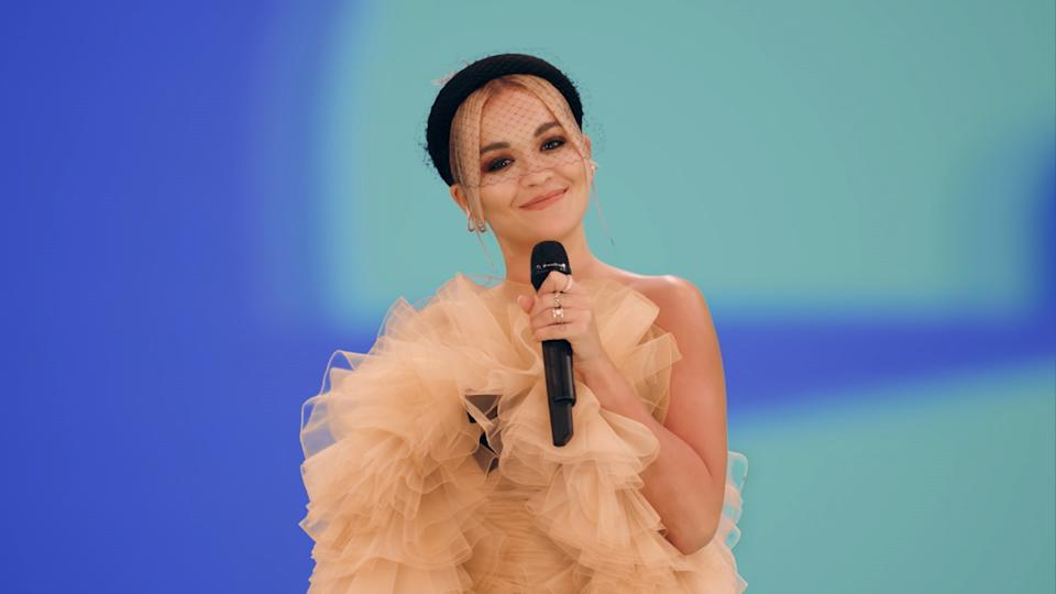 LONDON, ENGLAND - NOVEMBER 01: In this screengrab released on November 08, Rita Ora presenting the Best Electronic award at the MTV EMA's 2020 on November 01, 2020 in London, England. The MTV EMA's aired on November 08, 2020. (Handout/Courtesy of MTV via Getty Images)