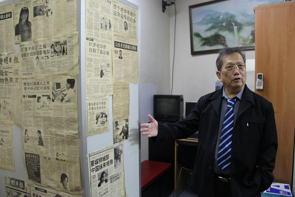 Horatio Li's wall of fame shows news articles collected over the years. (Photo by Wan Ting Koh/ Yahoo Lifestyle Singapore)