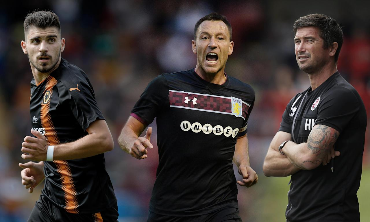 Ruben Neves of Wolverhampton Wanderers, Aston Villa's John Terry in action against Walsall and Crawley Town head coach Harry Kewell.