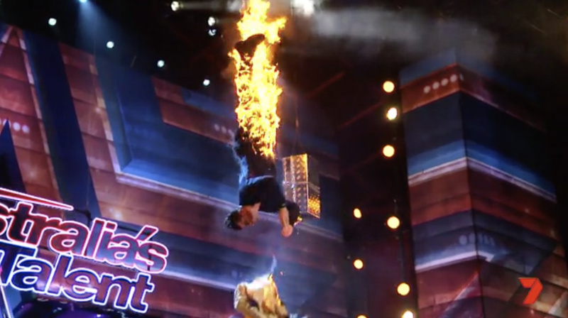 Bachelorette star Apollo Jackson on fire in magic stunt gone wrong on Australia's Got Talent on Channel Seven.