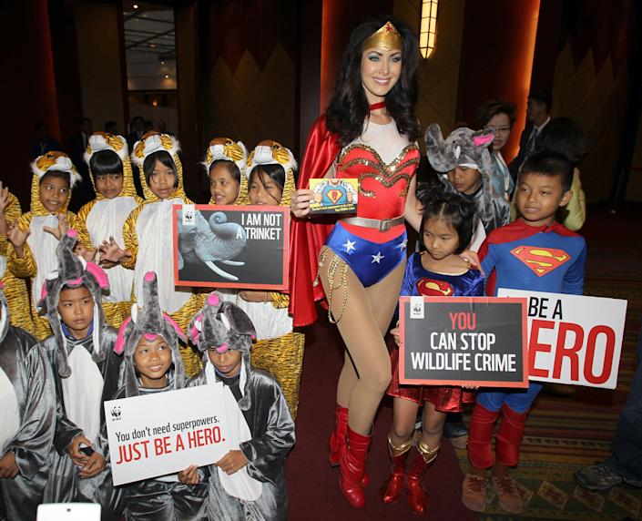 """Miss Universe 2005 Natalie Glebova of Canada, center, wearing Wonder Woman costume poses with Thai children in elephant and tiger costumes on the occasion of Convention on International Trade in Endangered Species, or CITES, in Bangkok, Thailand Sunday, March 3, 2013. How to slow the slaughter and curb the trade in """"blood ivory"""" will be among the most critical issues up for debate at the 177-nation Convention on International Trade in Endangered Species, or CITES, that gets under way Sunday in Bangkok. And the meeting's host, Thailand, will be under particular pressure to take action. (AP Photo/Sakchai Lalit)"""