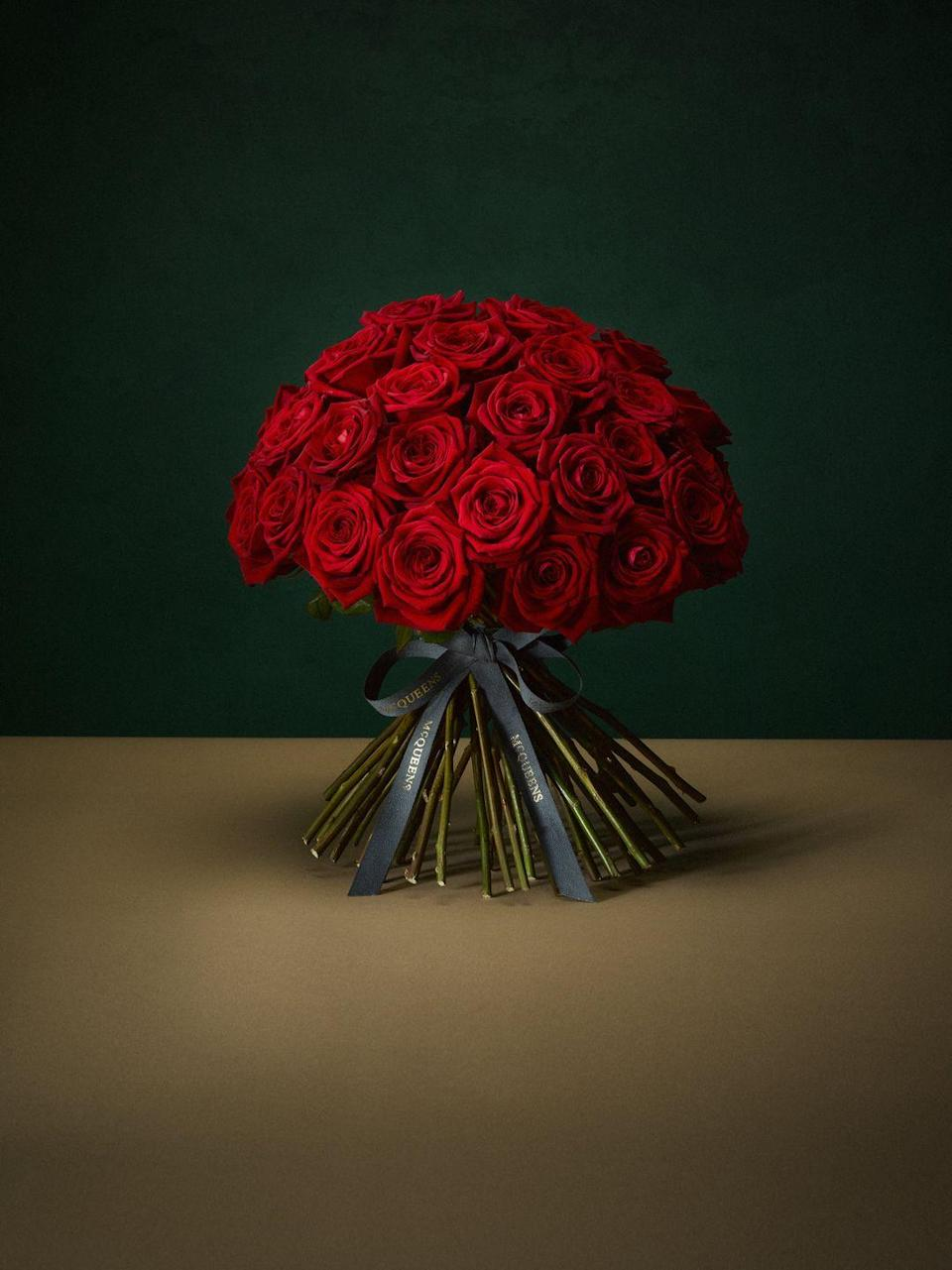 "<p>…for nothing says 'romance' quite like a hand-tied bunch of McQueens classic red blooms. </p><p>From £215, McQueens</p><p><a class=""link rapid-noclick-resp"" href=""https://mcqueens.co.uk/product/amour/"" rel=""nofollow noopener"" target=""_blank"" data-ylk=""slk:SHOP NOW"">SHOP NOW</a></p>"