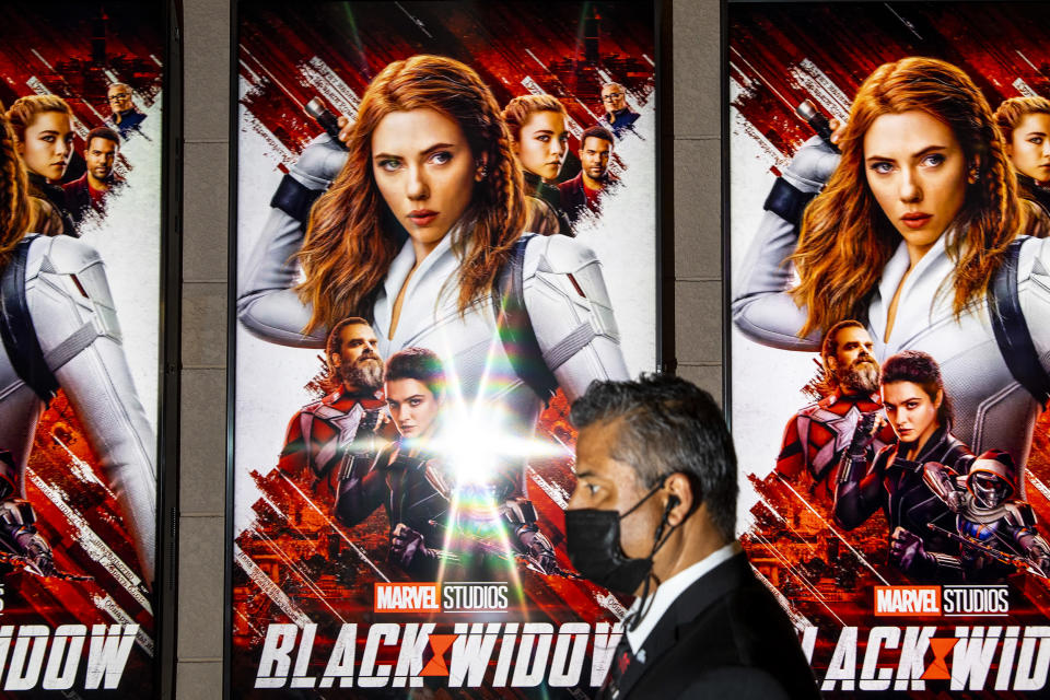 Scenes from the El Capitan Theatre in the heart of Hollywood, CA, during opening weekend of Marvels, Black Widow (Jay L. Clendenin / Los Angeles Times via Getty Images)
