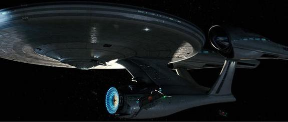 """A still from the 2009 film """"Star Trek"""" showing the reimagined U.S.S. Enterprise."""