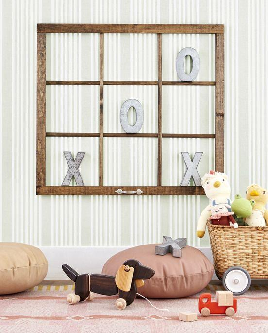 "<p>Make wall art interactive in a play room by hanging a vintage or new nine-pane window frame. Add galvanized X's and O's, and let the games begin. </p><p><a class=""link rapid-noclick-resp"" href=""https://go.redirectingat.com?id=74968X1596630&url=https%3A%2F%2Fwww.michaels.com%2F5.75in-galvanized-3d-letter-by-artminds%2FM10492849.html&sref=https%3A%2F%2Fwww.countryliving.com%2Fhome-design%2Fdecorating-ideas%2Fg31153820%2Fdiy-wall-art-ideas%2F"" rel=""nofollow noopener"" target=""_blank"" data-ylk=""slk:SHOP GALVANIZED LETTERS"">SHOP GALVANIZED LETTERS</a></p>"