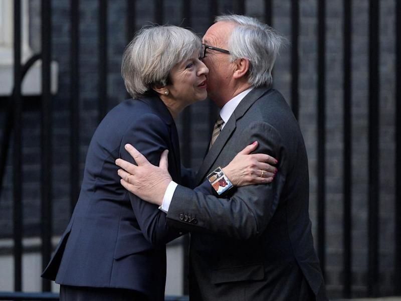 Theresa May held talks with the head of the European Commission, Jean-Claude Juncker, in Downing Street days after calling a general election (Reuters)