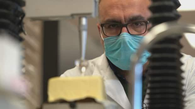 Research associate Saeed Ghazani uses a texture analyzer to conduct a penetration test, determining the hardness of the butter samples. (Yanjun Li/CBC - image credit)