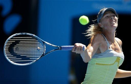 Russia's Maria Sharapova hits a forehand return to Belgium's Kirsten Flipkens during their fourth round match at the Australian Open tennis championship in Melbourne, Australia, Sunday, Jan. 20, 2013. (AP Photo/Dita Alangkara)