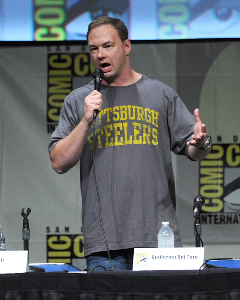 "SAN DIEGO, CA - JULY 14:  Producer Thomas Tull speaks at Warner Bros. Pictures and Legendary Pictures Preview of ""Pacific Rim"" during Comic-Con International 2012 at San Diego Convention Center on July 14, 2012 in San Diego, California.  (Photo by Kevin Winter/Getty Images)"