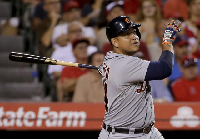 Detroit Tigers' Miguel Cabrera watches his home run against the Los Angeles Angels during the fourth inning of a baseball game in Anaheim, Calif., Friday, July 25, 2014. (AP Photo/Chris Carlson)