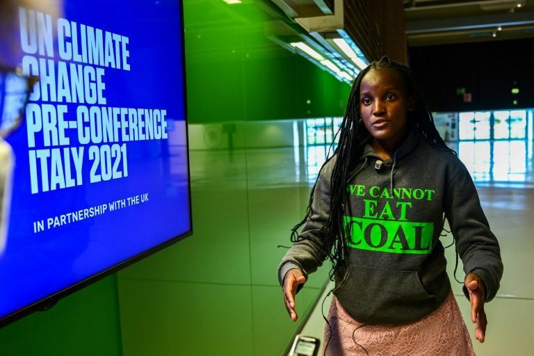 Ugandan climate activist Vanessa Nakate speaks during an interview with AFP on the sidelines of the Youth4Climate event on September 29, 2021 in Milan (AFP/MIGUEL MEDINA)