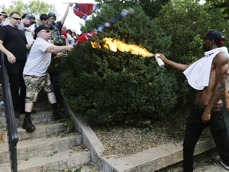 Mr Long said the police stood by and did nothing when white supremacists lashed out: AP