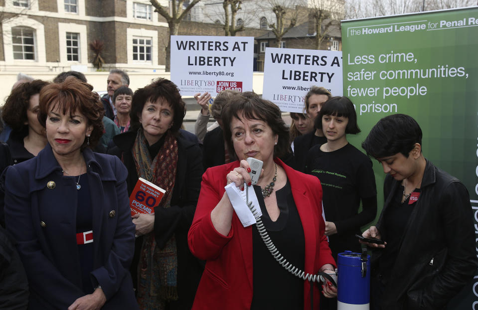 Frances Crook (centre), the chief executive of the Howard League for Penal reform, speaking at a protest outside Pentonville prison in north London, at the ban on sending books to prisoners.