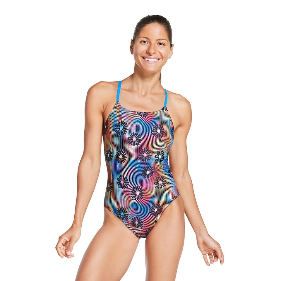 """<p>If you don't want chlorine to corrode your suit super fast, try one made with Speedo's Endurance fabric, like this <a href=""""https://www.popsugar.com/buy/Speedo-Turnz-Tie-Back-One-Piece-538936?p_name=Speedo%20Turnz%20Tie%20Back%20One%20Piece&retailer=speedousa.com&pid=538936&price=69&evar1=fit%3Aus&evar9=47092840&evar98=https%3A%2F%2Fwww.popsugar.com%2Ffitness%2Fphoto-gallery%2F47092840%2Fimage%2F47092848%2FSpeedo-Turnz-Tie-Back-One-Piece&list1=swimming%2Cfitness%20gear&prop13=api&pdata=1"""" rel=""""nofollow"""" data-shoppable-link=""""1"""" target=""""_blank"""" class=""""ga-track"""" data-ga-category=""""Related"""" data-ga-label=""""https://www.speedousa.com/women/womens-featured/womens-new-arrivals/turnz-tie-back-one-piece-style-7719038-436"""" data-ga-action=""""In-Line Links"""">Speedo Turnz Tie Back One Piece</a> ($69). The durable fabric lasts significantly longer than traditional nylon blends.</p>"""