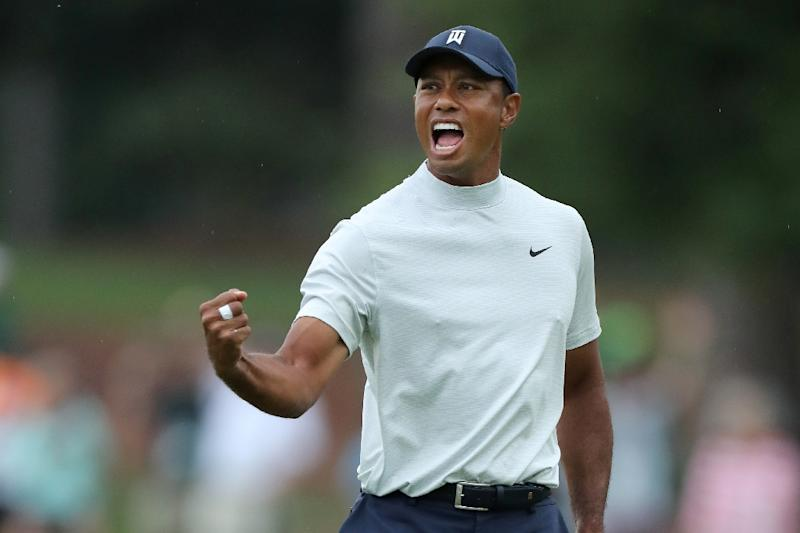 Good stuff: Tiger Woods is one back on a jammed leaderboard heading into the third round of the Masters at Augusta National