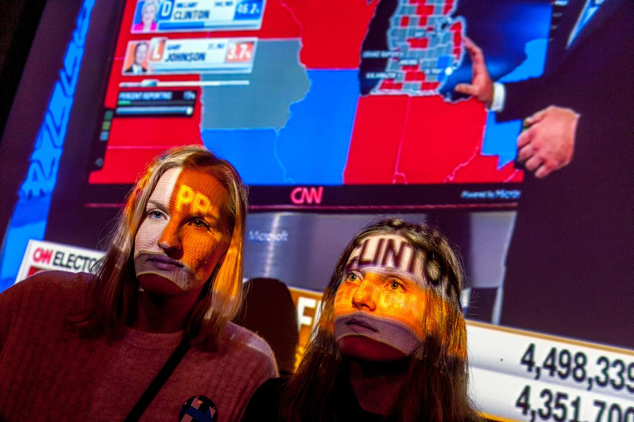 <p>Political Science students from Sweden Sara Viklund and Susanne Lindered watch election returns at Blackfinn Ameripub in Washington DC. on November 8, 2016. (Photo: Mary F. Calvert for Yahoo News) </p>