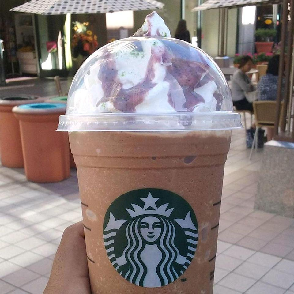 <p>Former Seattle Seahawks and current Oakland Raiders running back Marshawn Lynch created a Frappuccino that you can drink before you go to the gym. The double mocha drink includes a little mint, whipped cream, purple berry drizzle, matcha sprinkle, and protein powder. Finally, a Frappuccino that has some protein!</p>