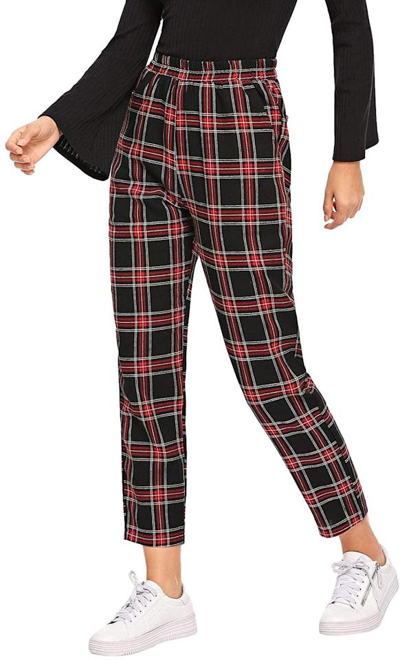 "<p>These cute <a href=""https://www.popsugar.com/buy/DIDK-Mid-Waist-Tartan-Plaid-Pocket-Pants-523490?p_name=DIDK%20Mid-Waist%20Tartan%20Plaid%20Pocket%20Pants&retailer=amazon.com&pid=523490&price=19&evar1=fab%3Auk&evar9=46947746&evar98=https%3A%2F%2Fwww.popsugar.com%2Ffashion%2Fphoto-gallery%2F46947746%2Fimage%2F46949293%2FDIDK-Mid-Waist-Tartan-Plaid-Pocket-Pants&list1=shopping%2Camazon%2Choliday%2Choliday%20fashion%2Cfashion%20shopping&prop13=api&pdata=1"" rel=""nofollow"" data-shoppable-link=""1"" target=""_blank"" class=""ga-track"" data-ga-category=""Related"" data-ga-label=""https://www.amazon.com/dp/B07LGSR6SC?tag=shopdandyblo-4-LTKA-20&amp;th=1&amp;psc=1"" data-ga-action=""In-Line Links"">DIDK Mid-Waist Tartan Plaid Pocket Pants</a> ($19) will get you in the holiday spirit.</p>"