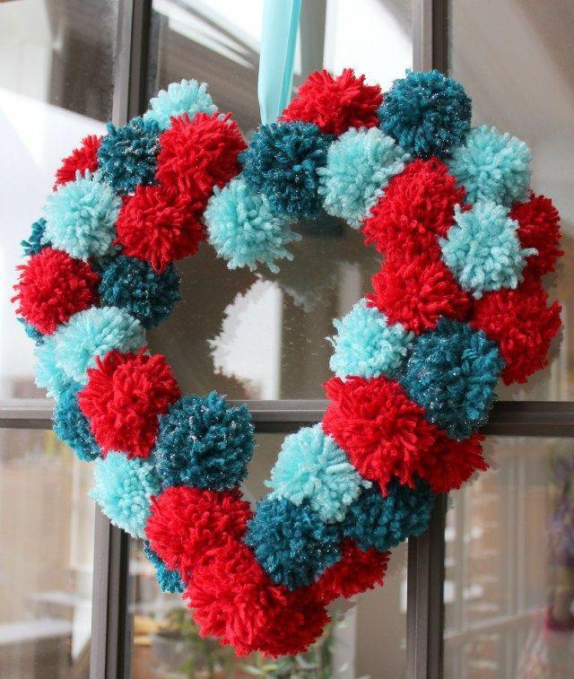 """<p>Valentine's Day doesn't have to be all about pink, as this cool craft that comes with a DIY pom-pom tutorial shows.</p><p><strong>Get the the tutorial at <a href=""""https://designimprovised.com/2013/01/valentine-wreath.html"""" rel=""""nofollow noopener"""" target=""""_blank"""" data-ylk=""""slk:Design Improvised"""" class=""""link rapid-noclick-resp"""">Design Improvised</a>.</strong></p><p><a class=""""link rapid-noclick-resp"""" href=""""https://www.amazon.com/hot-glue/s?k=hot+glue&tag=syn-yahoo-20&ascsubtag=%5Bartid%7C10050.g.35057743%5Bsrc%7Cyahoo-us"""" rel=""""nofollow noopener"""" target=""""_blank"""" data-ylk=""""slk:SHOP HOT GLUE"""">SHOP HOT GLUE</a><br></p>"""