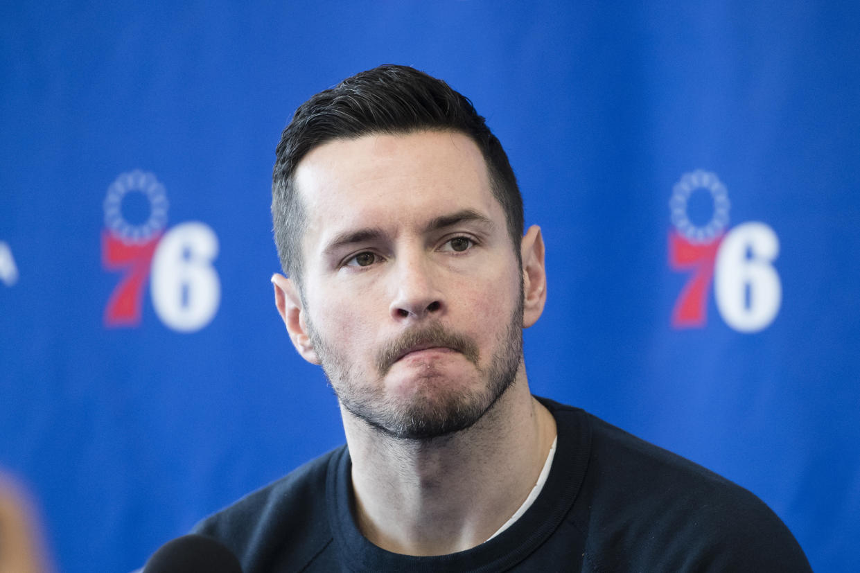 Philadelphia 76ers' JJ Redick speaks with members of the media during a news conference at the NBA basketball team's practice facility in Camden, N.J., Monday, May 13, 2019. (AP Photo/Matt Rourke)