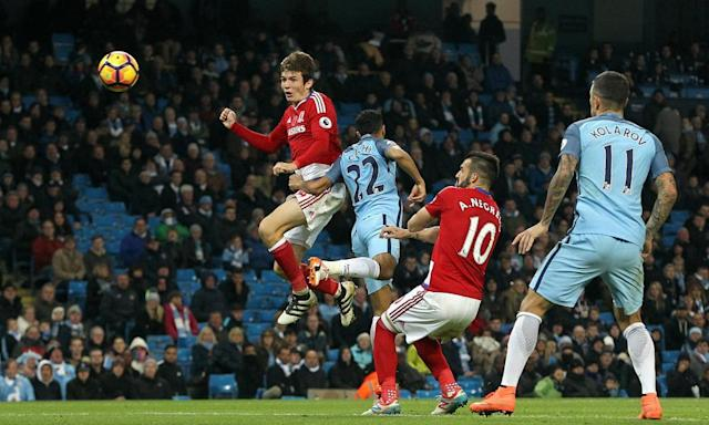 "<span class=""element-image__caption"">Marten de Roon scores a late equaliser to help Middlesbrough secure a 1-1 draw at Manchester City in the Premier League on 5 November.</span> <span class=""element-image__credit"">Photograph: Rich Linley/CameraSport via Getty Images</span>"