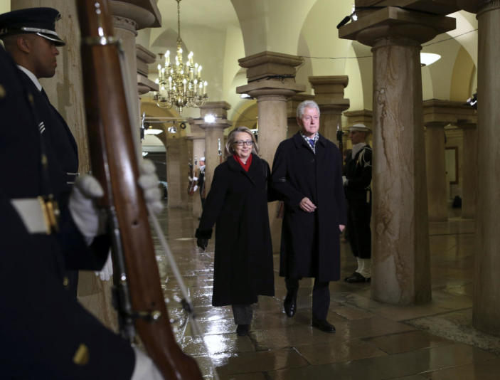 <p>Former President Bill Clinton and Secretary of State Hillary Clinton attend President Barack Obama's ceremonial swearing-in ceremony during the 57th Presidential Inauguration on Capitol Hill in Washington, D.C., on Jan. 21, 2013. (Photo: Molly Riley/AP)</p>