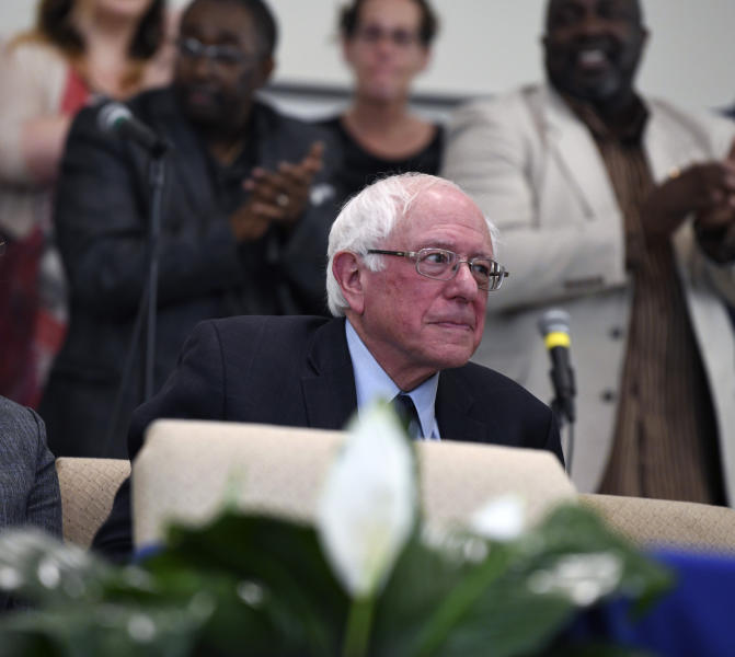 Sen. Bernie Sanders waits to take the stage ahead of a town hall with black lawmakers on Thursday, April 18, 2019, in Spartanburg, S.C. Ahead of the event, Sanders announced 2020 campaign endorsements from seven black South Carolina lawmakers, a show of force in state where black voters comprise more most of the Democratic primary electorate. (AP Photo/Meg Kinnard)