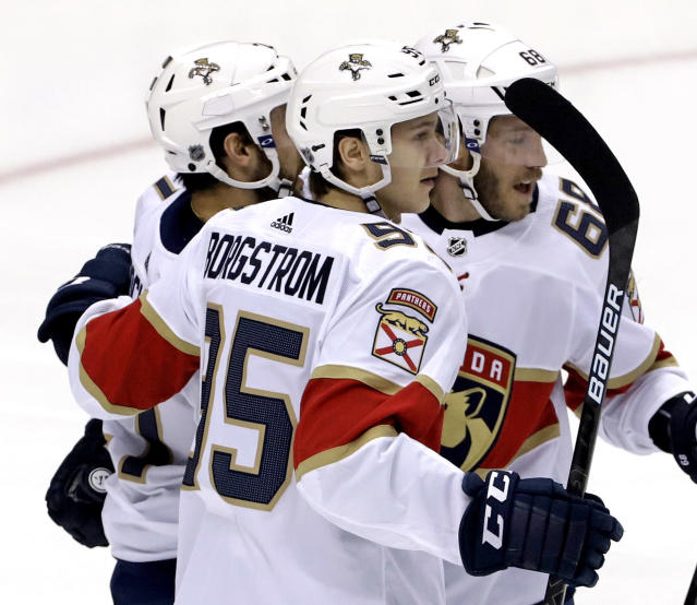 Florida Panthers' Henrik Borgstrom (95) celebrates his goal in the first period of an NHL hockey game against the Pittsburgh Penguins in Pittsburgh, Tuesday, March 5, 2019. (AP Photo/Gene J. Puskar)