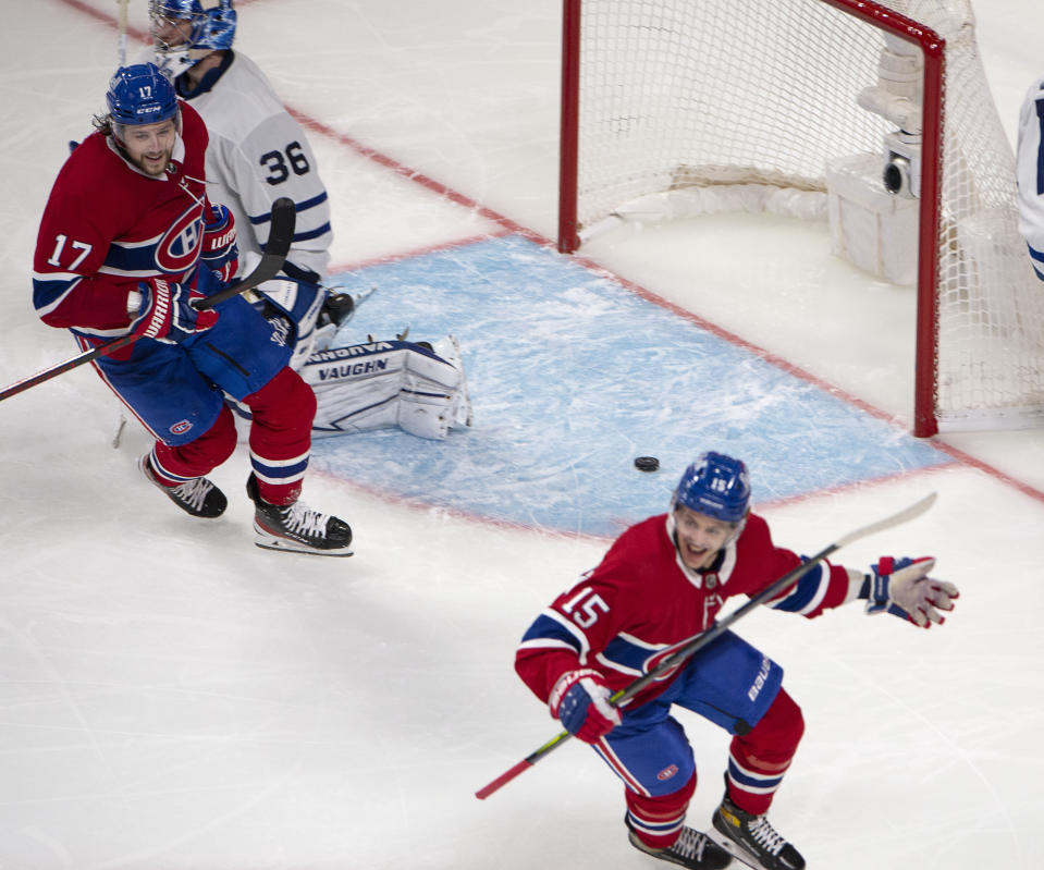 Montreal Canadiens' Jesperi Kotkaniemi (15) reacts after scoring in overtime on Toronto Maple Leafs goaltender Jack Campbell (36) in Game 6 of an NHL hockey Stanley Cup first-round playoff seres Saturday, May 29, 2021, in Montreal. (Ryan Remiorz/The Canadian Press via AP)