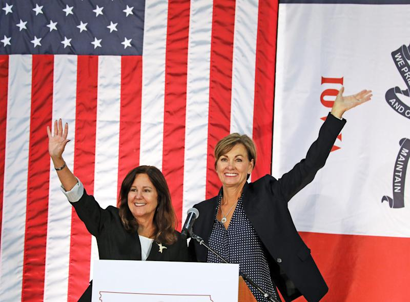 Second lady Karen Pence supports Iowa Gov. Kim Reynolds at a fundraiser for Reynolds Sept. 21 in Des Moines.