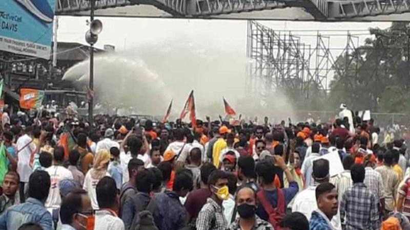 BJP workers marching to West Bengal secretariat clash with police