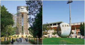 Chiayi park features sun shooting tower (left) and a huge baseball art installation. (Courtesy of Taipei Walker)