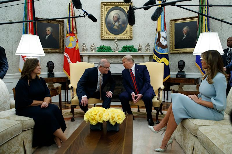 President Donald Trump and first lady Melania Trump meet with Australian Prime Minister Scott Morrison and his wife Jenny Morrison in the Oval Office of the White House, Friday, Sept. 20, 2019, Washington.