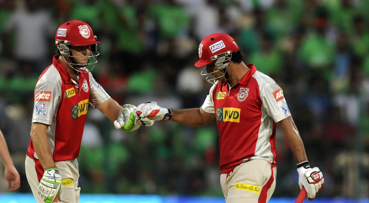 Adam Gilchrist captain of Kings XI Punjab and Azhar Mahmood of Kings XI Punjab are seen punching gloves  during match 63 of the Pepsi Indian Premier League between The Royal Challengers Bangalore and The Kings XI Punjab held at the M. Chinnaswamy Stadium, Bengaluru  on the 14th May 2013..Photo by Pal Pillai-IPL-SPORTZPICS  ..Use of this image is subject to the terms and conditions as outlined by the BCCI. These terms can be found by following this link:..https://ec.yimg.com/ec?url=http%3a%2f%2fwww.sportzpics.co.za%2fimage%2fI0000SoRagM2cIEc.&t=1498522489&sig=FjoPHUkHsDC6OnLYMaT6hA--~C