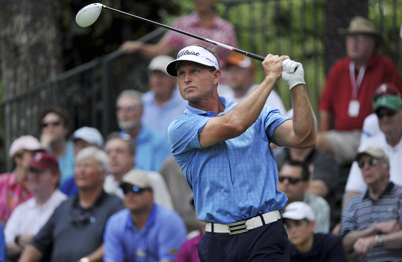 Bill Glasson hits off the 14th tee during the second round of the Champions Tour's Regions Tradition golf tournament, Friday, June 8, 2012, at Shoal Creek in Birmingham, Ala. Glasson is in the lead at 9 under par. (AP Photo/The Birmingham News, Tamika Moore) MAGS OUT
