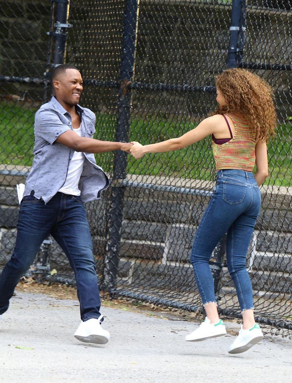 <p>Here Grace is dancing with Corey Hawkins, who is set to play Benny.</p>